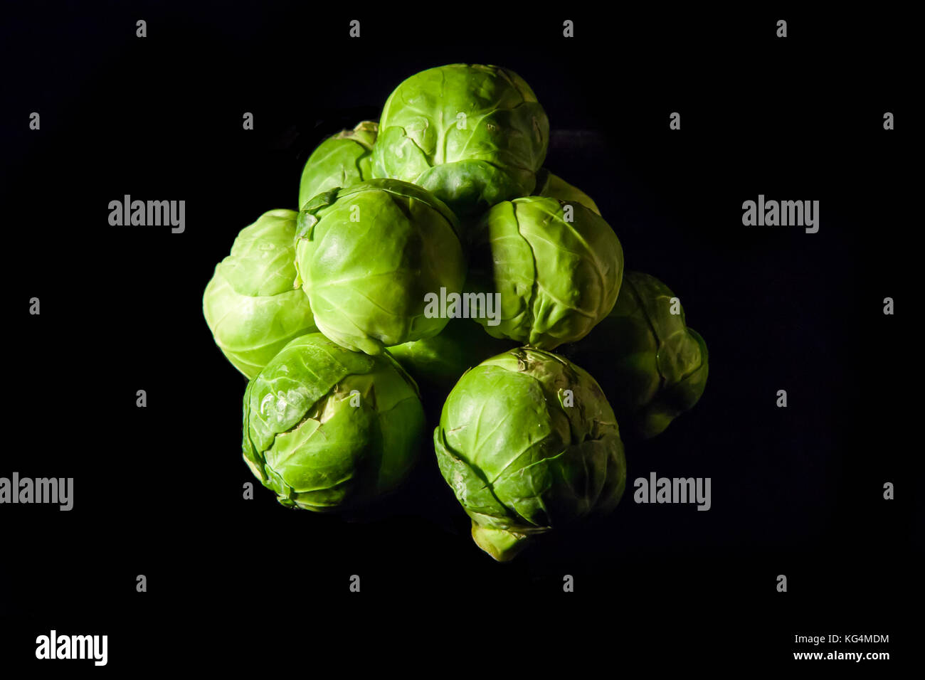 pile of green brussel sprouts - Stock Image