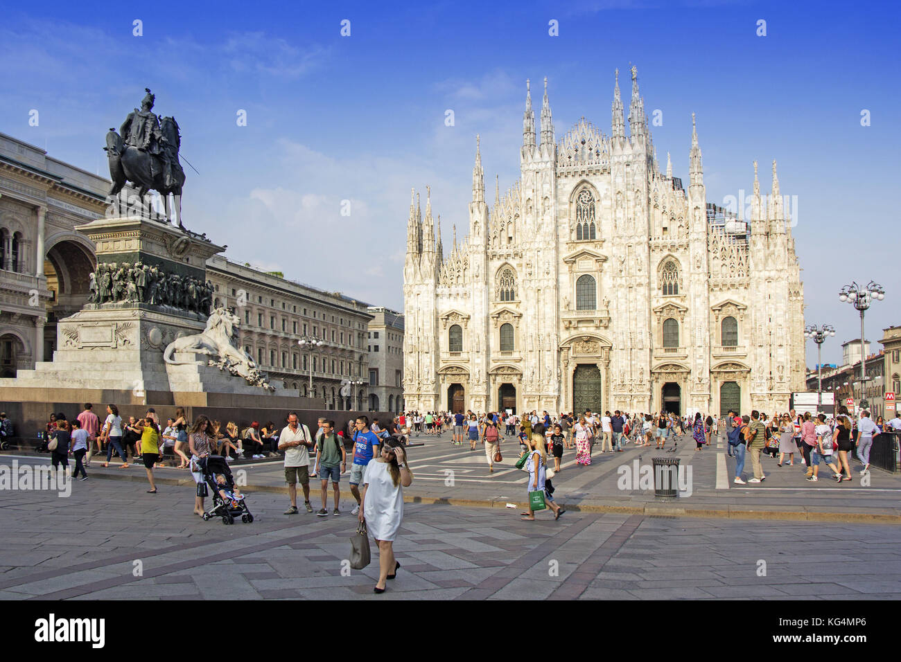 MILAN, ITALY - JUNE 27: Piazza di Duomo di Milano on June 27, 2017. A lot of tourists in front of the Cathedral - Stock Image