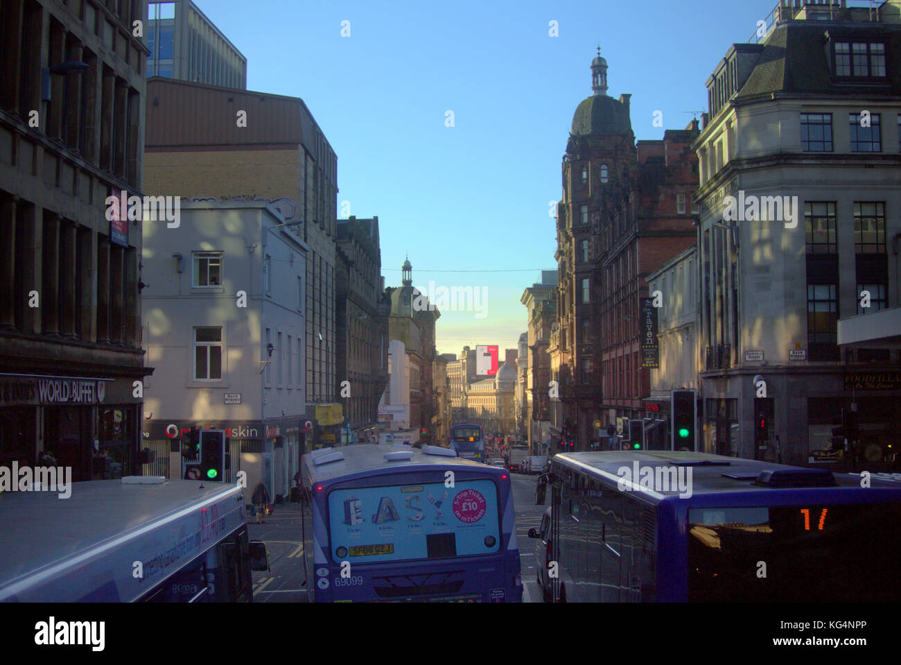 union street and renfield street  glasgow heavy bus traffic congestion rush hour bus pulling out - Stock Image