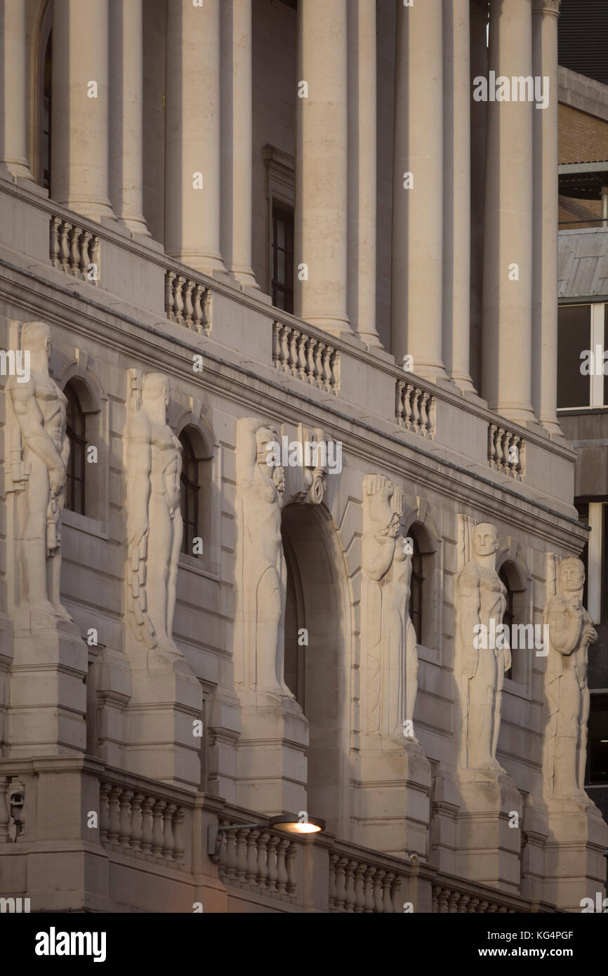 The Telamon Portland stone figures of the Bank of England on Threadneedle Street in the heart of the Square Mile, - Stock Image