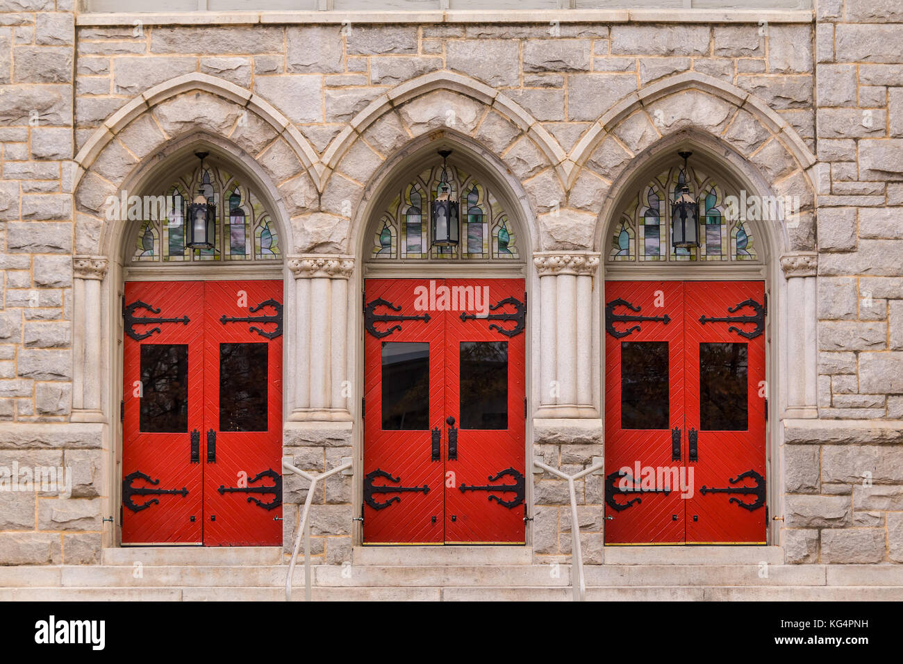 Three doors in a row on the facade of Saint Mark United Methodist Church front view Atlanta USA & Three doors in a row on the facade of Saint Mark United Methodist ...