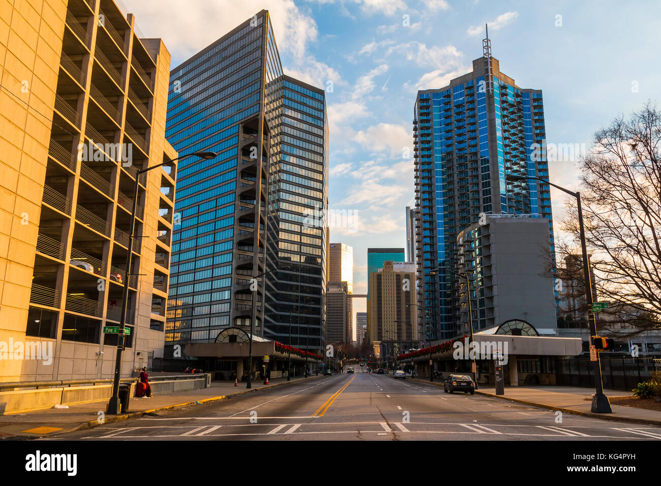 Atlanta, Georgia, USA - December 25, 2016: View of skyscrapers on the West Peachtree Street NW in the Downtown - Stock Image