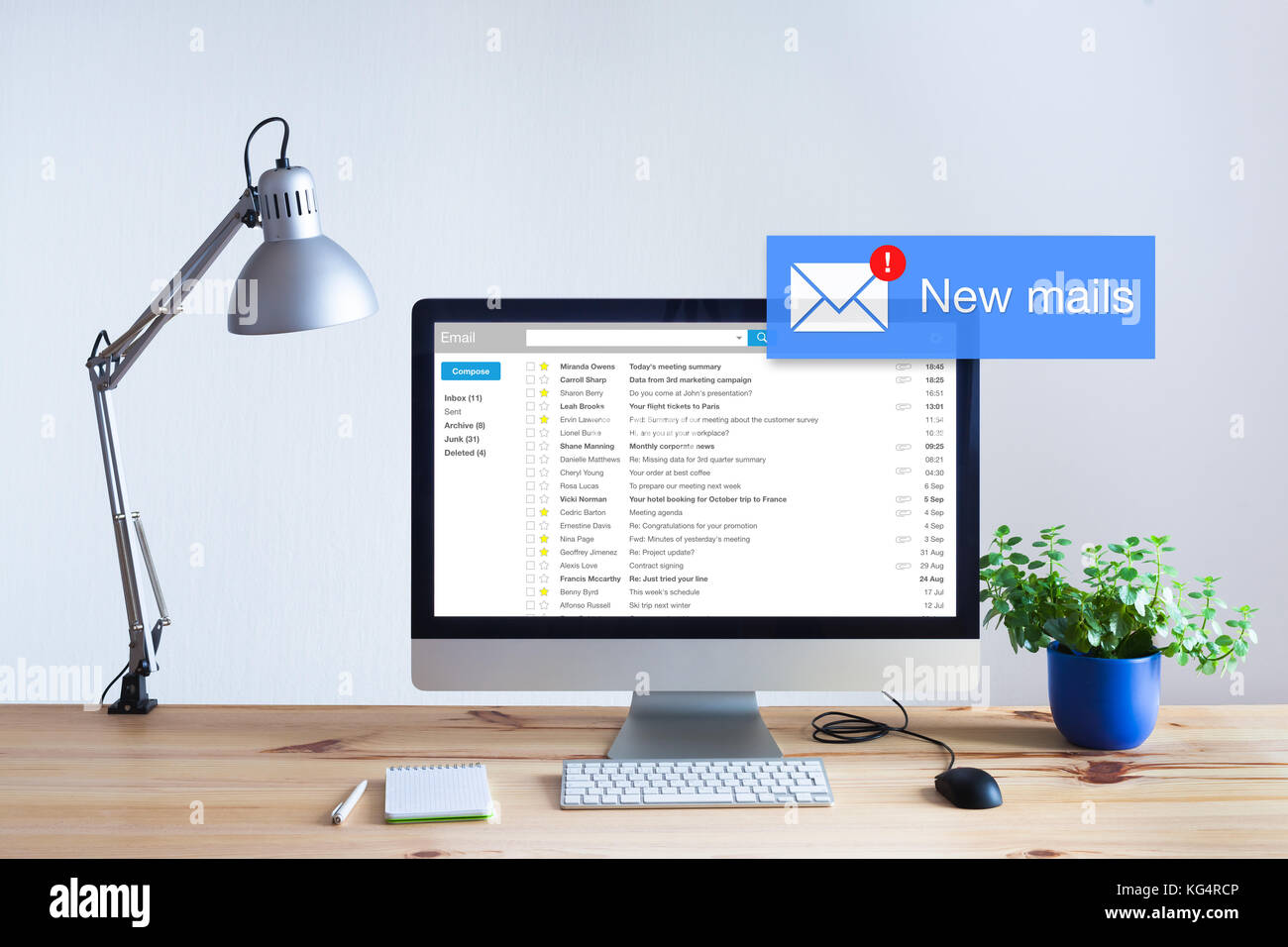 Receiving email in inbox concept with popup notification of new unread mails appearing on computer screen, marketing, - Stock Image