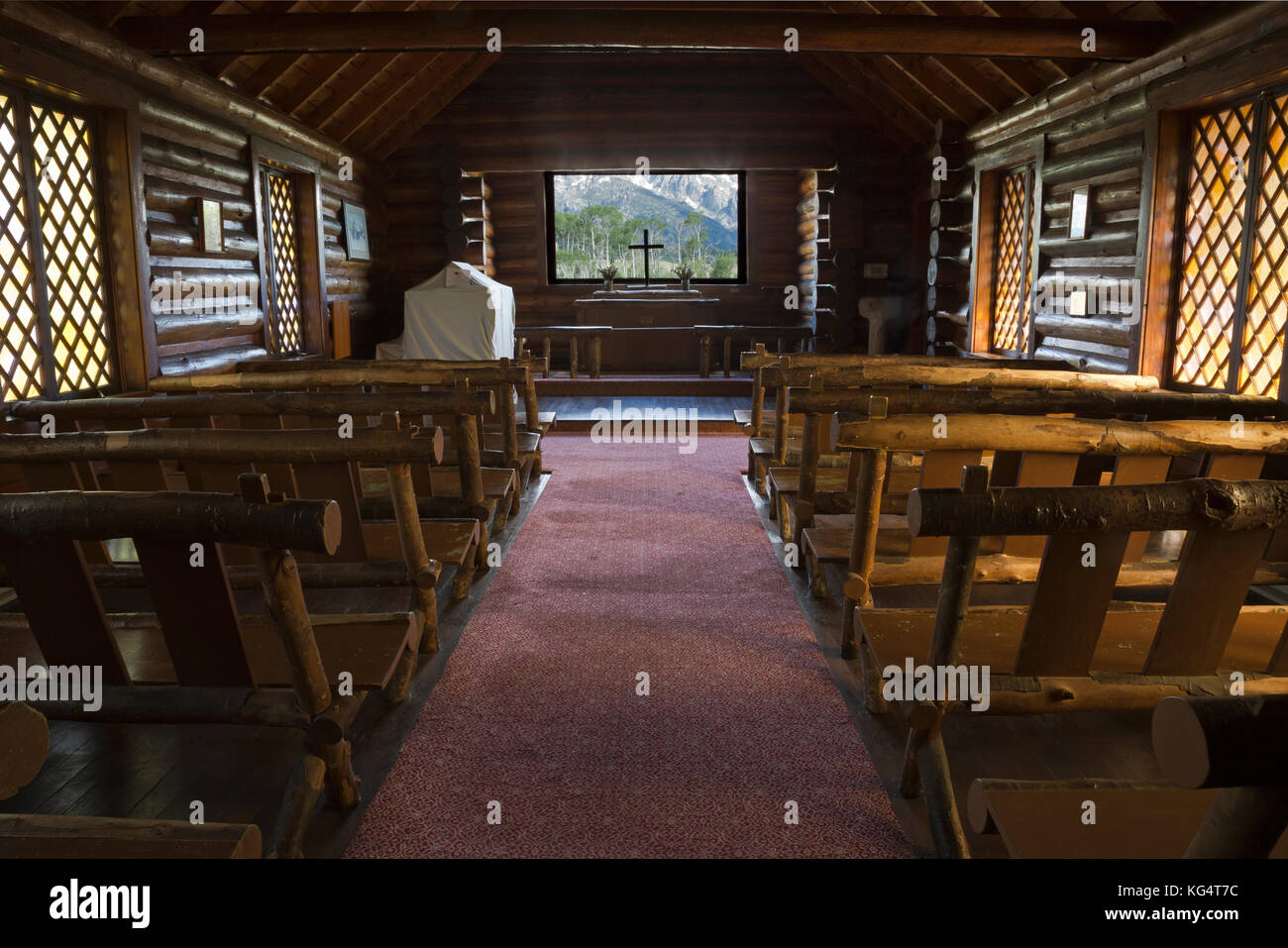 WY02533-00...WYOMING - Interior of the Chapel of the Transfiguration, a small, historical log church in Grand Teton - Stock Image