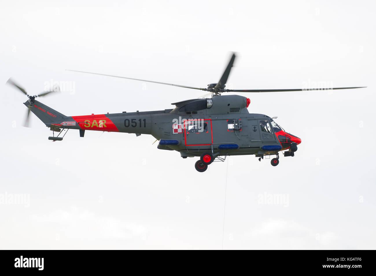 Polish Navy helicopter W-3WARM Anakonda, military version of PZL W-3 Sokol, in Gdynia, Poland. 31 October 2017 © - Stock Image