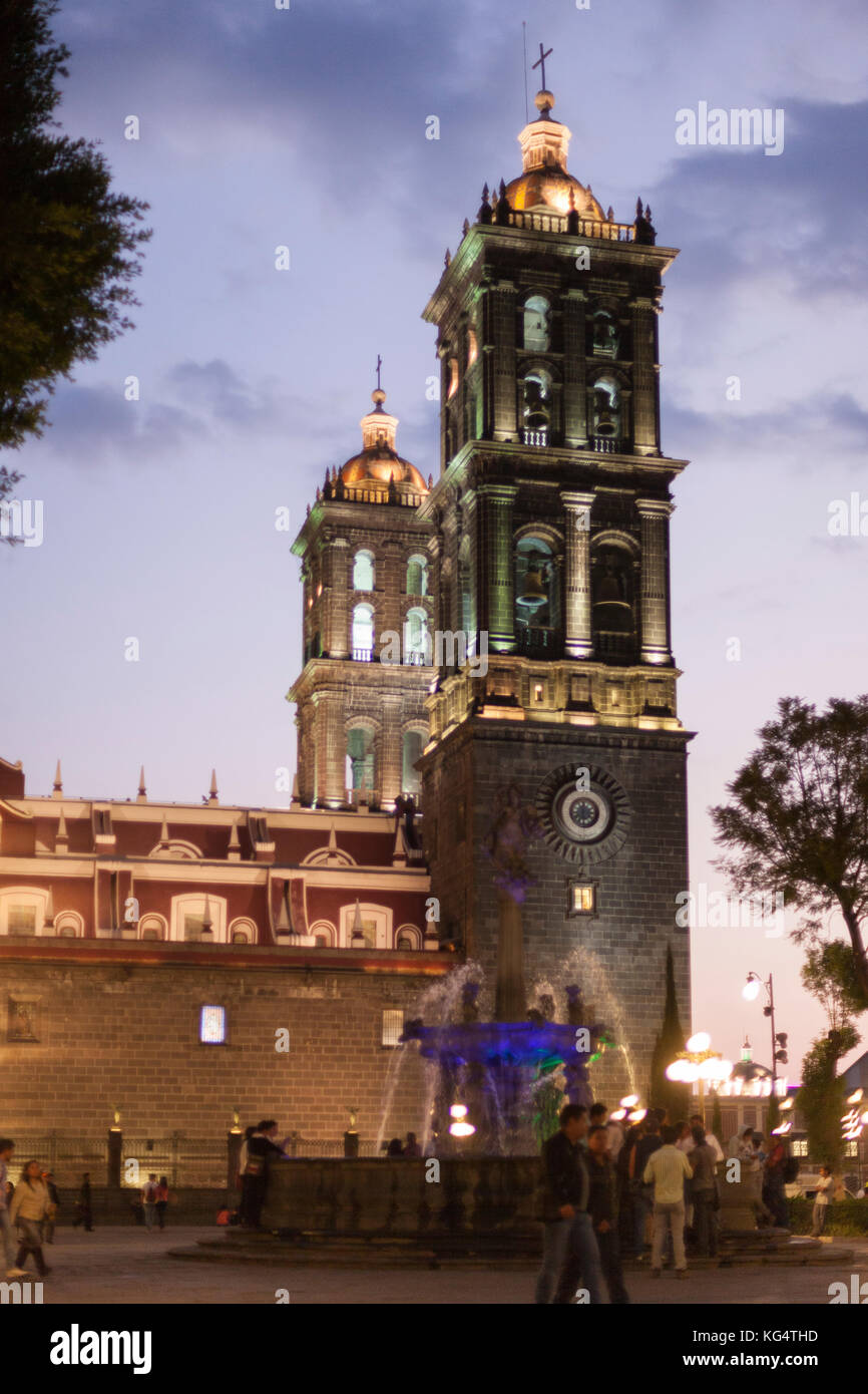 Downtown at Night, Puebla, Mexico - Stock Image