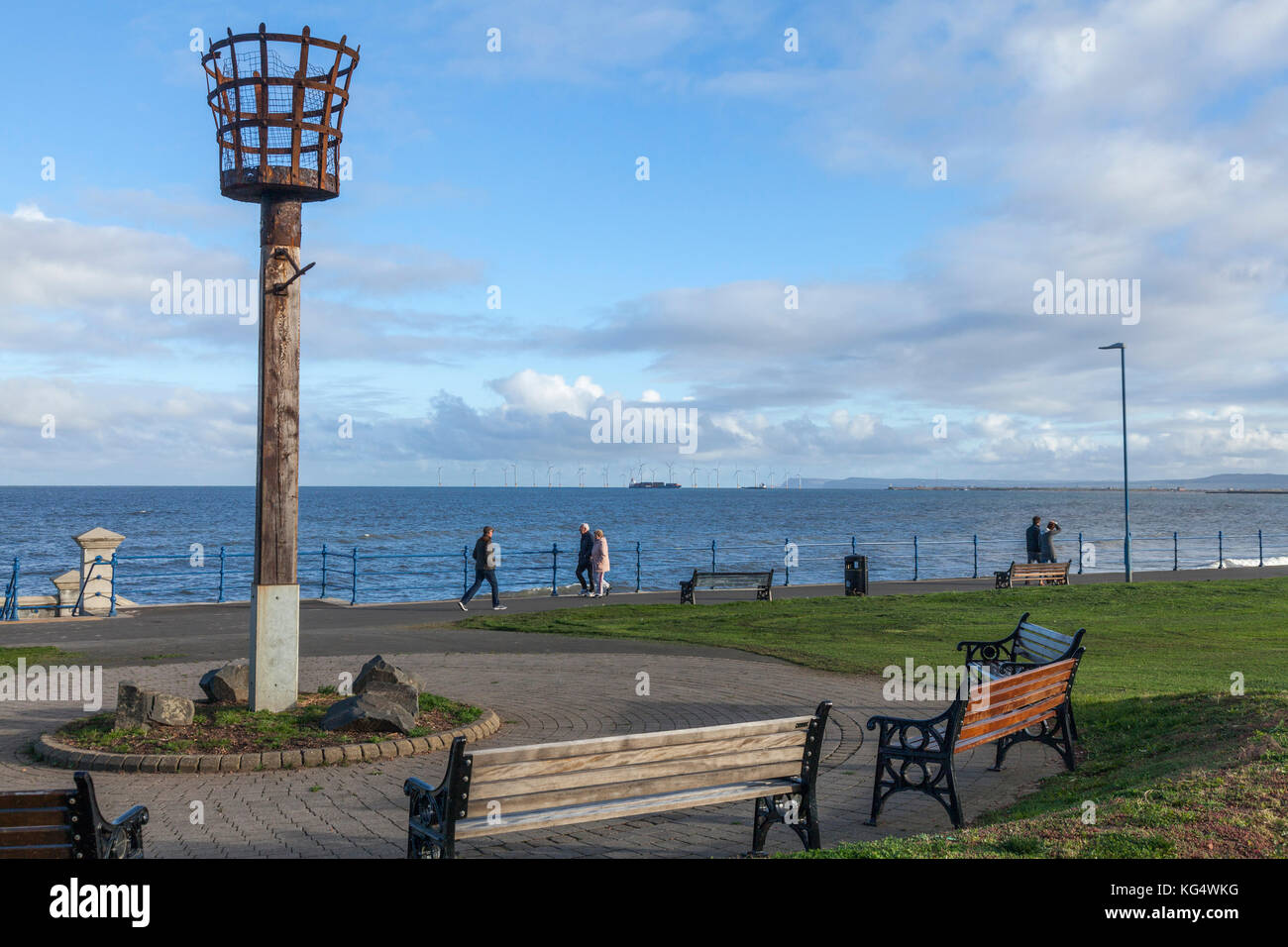 The seafront and beacon at Seaton Carew,England,UK Stock Photo