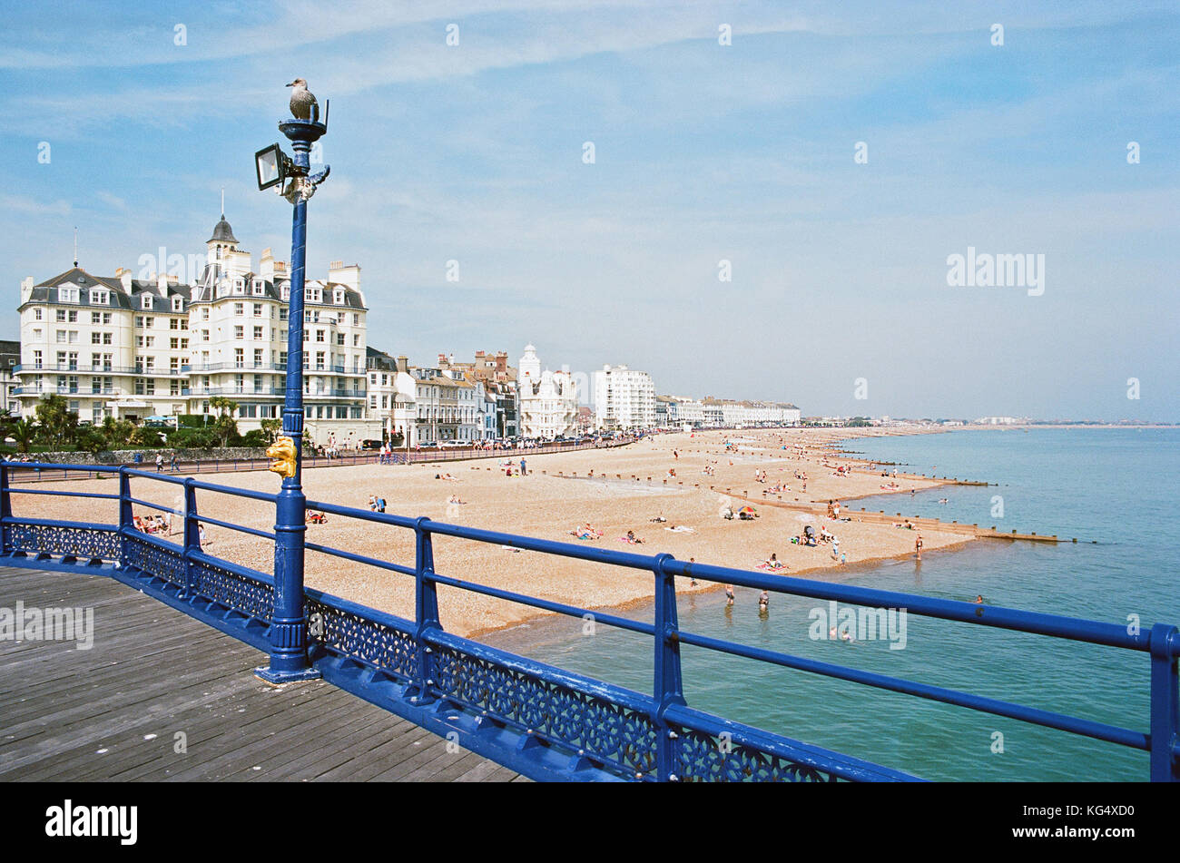 The seafront at Eastbourne, East Sussex, from the pier, looking eastwards Stock Photo