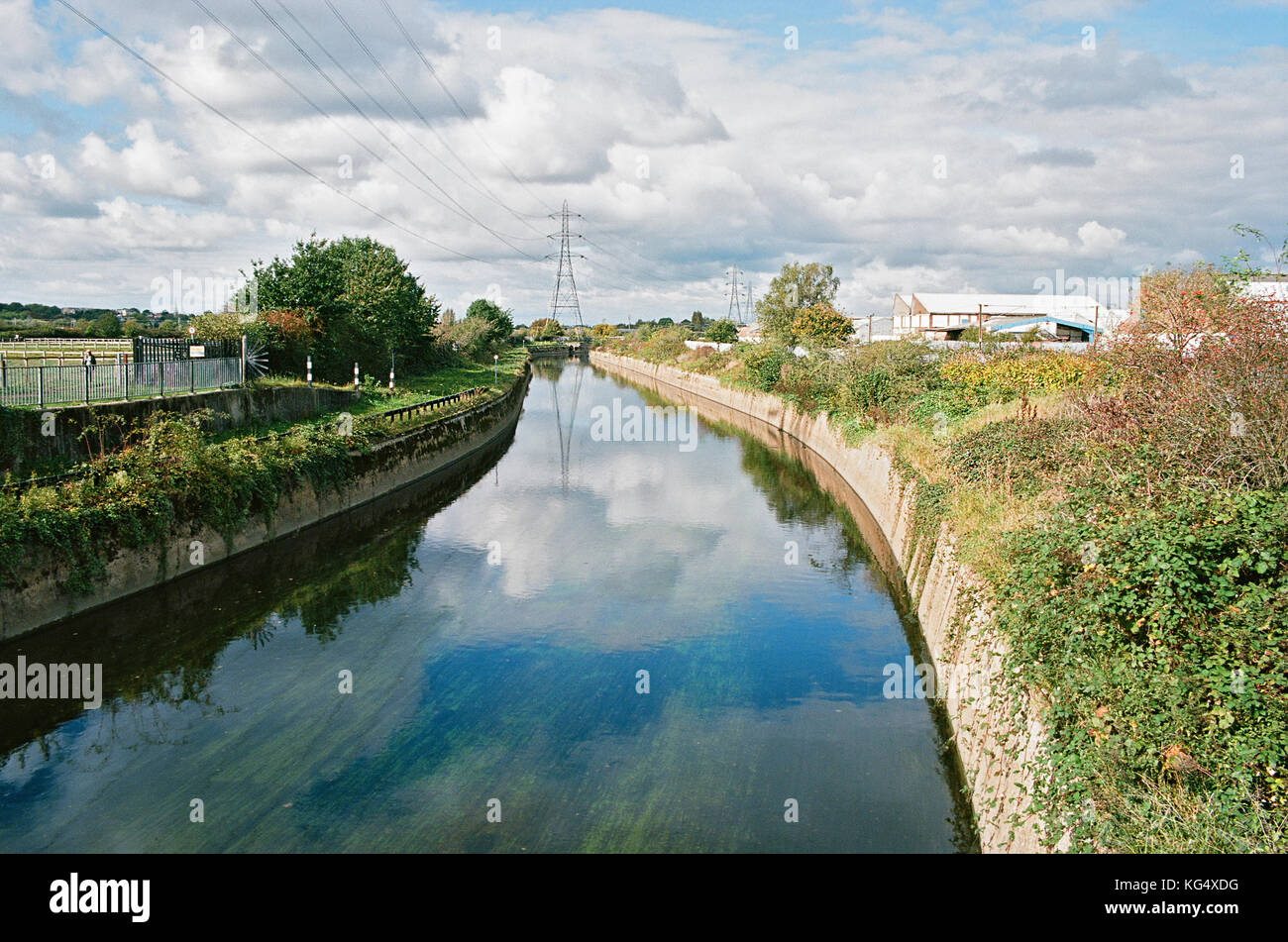 River Lea flood relief channel, on the edge of Walthamstow Marshes, North London UK - Stock Image