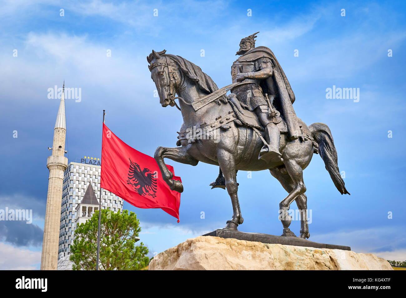 Albania, Tirana - statue of Skanderbeg, Skanderbeg Square - Stock Image