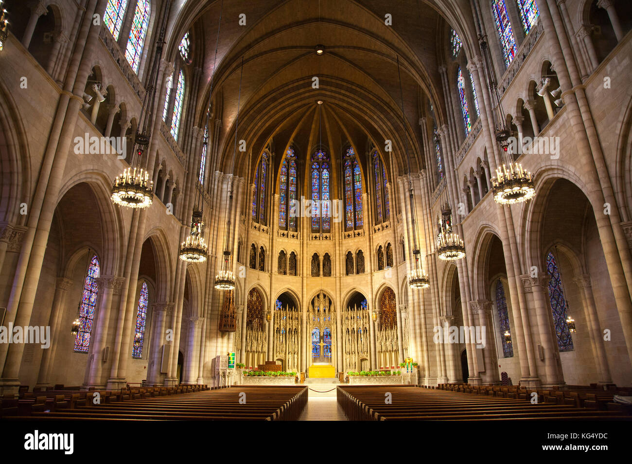 A part of the interior of the Cathedral of St John the Divine, Manhattan, New York, USA, America - Stock Image