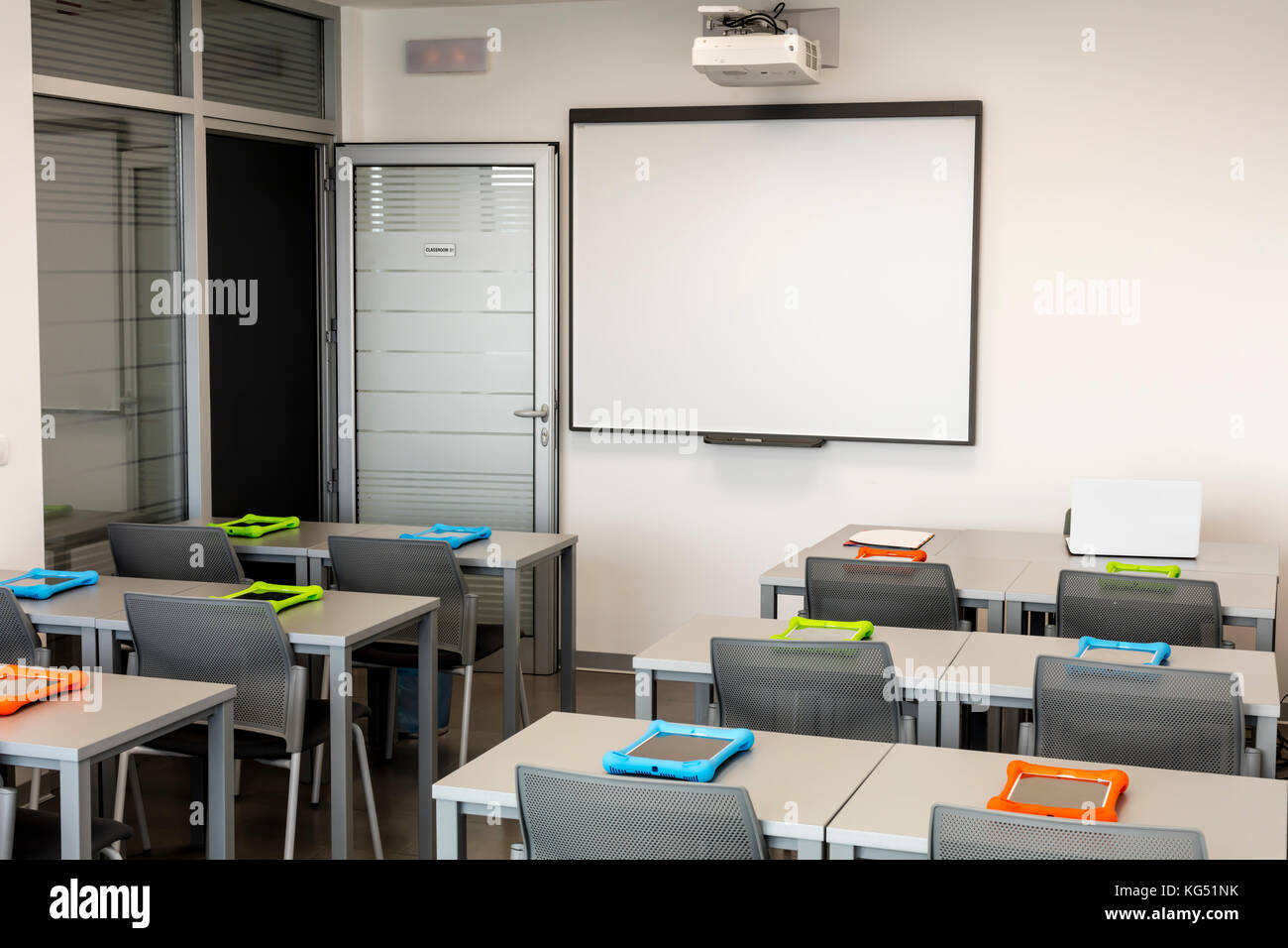 Modern White Classroom ~ Classroom interior with projector stock photos