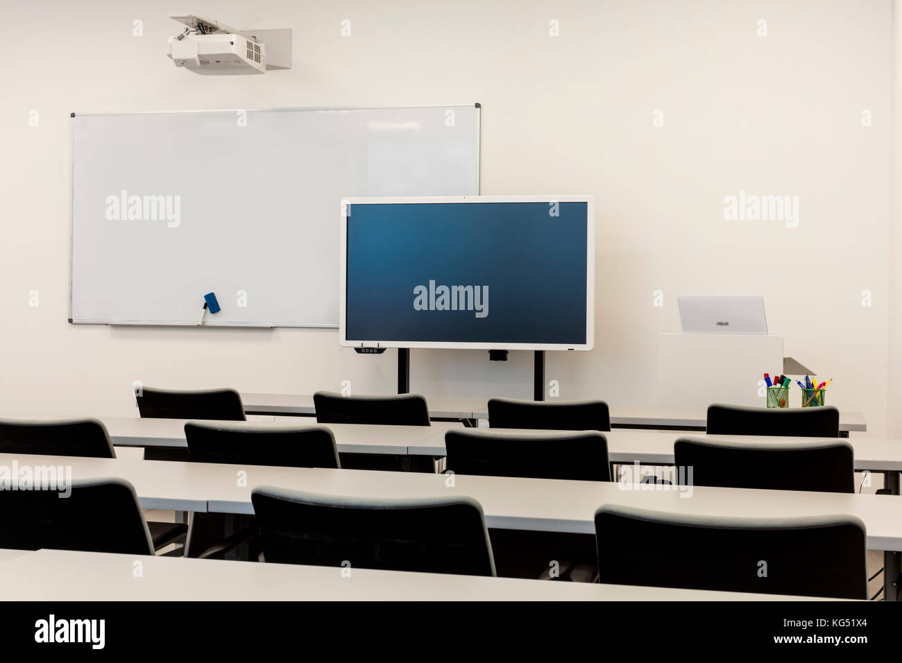 Modern Classroom Projector ~ Classroom interior with projector stock photos