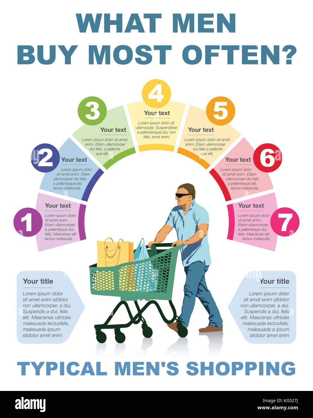 What people buy most often? Typical menÕs shopping. - Stock Vector