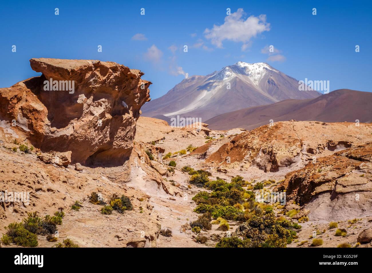 Mountains and desert landscape in sud lipez altiplano, Bolivia - Stock Image