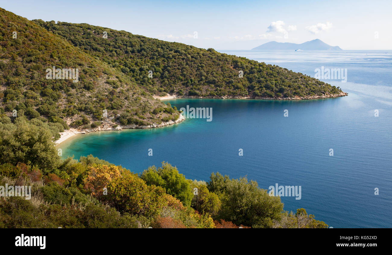 Frikes bay with its small beaches on the Ionian island of Ithaka in Greece - Stock Image