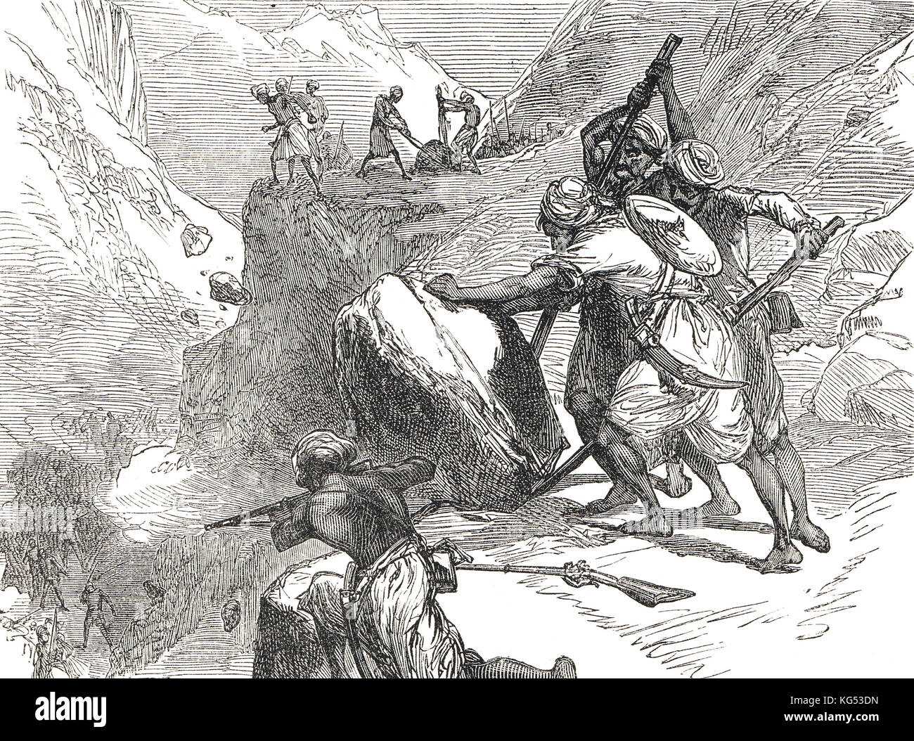 Skirmish in a mountain pass, Lushai Expedition of 1871 to 1872 - Stock Image