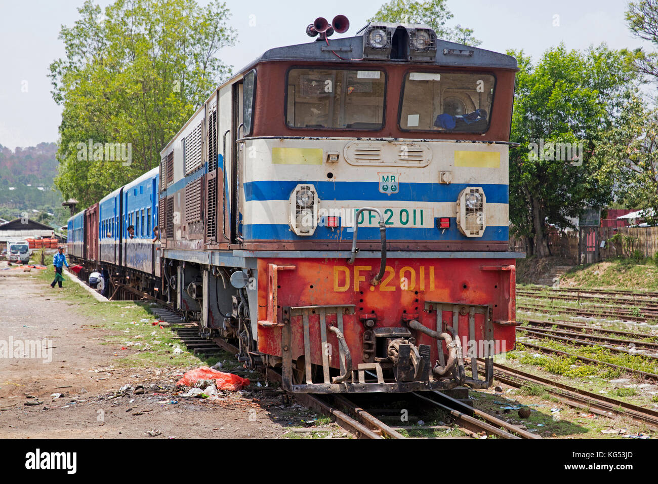 Old train on the Burma railway at the town Aungban in the Kalaw Township, Taunggyi District, Shan State, Myanmar - Stock Image