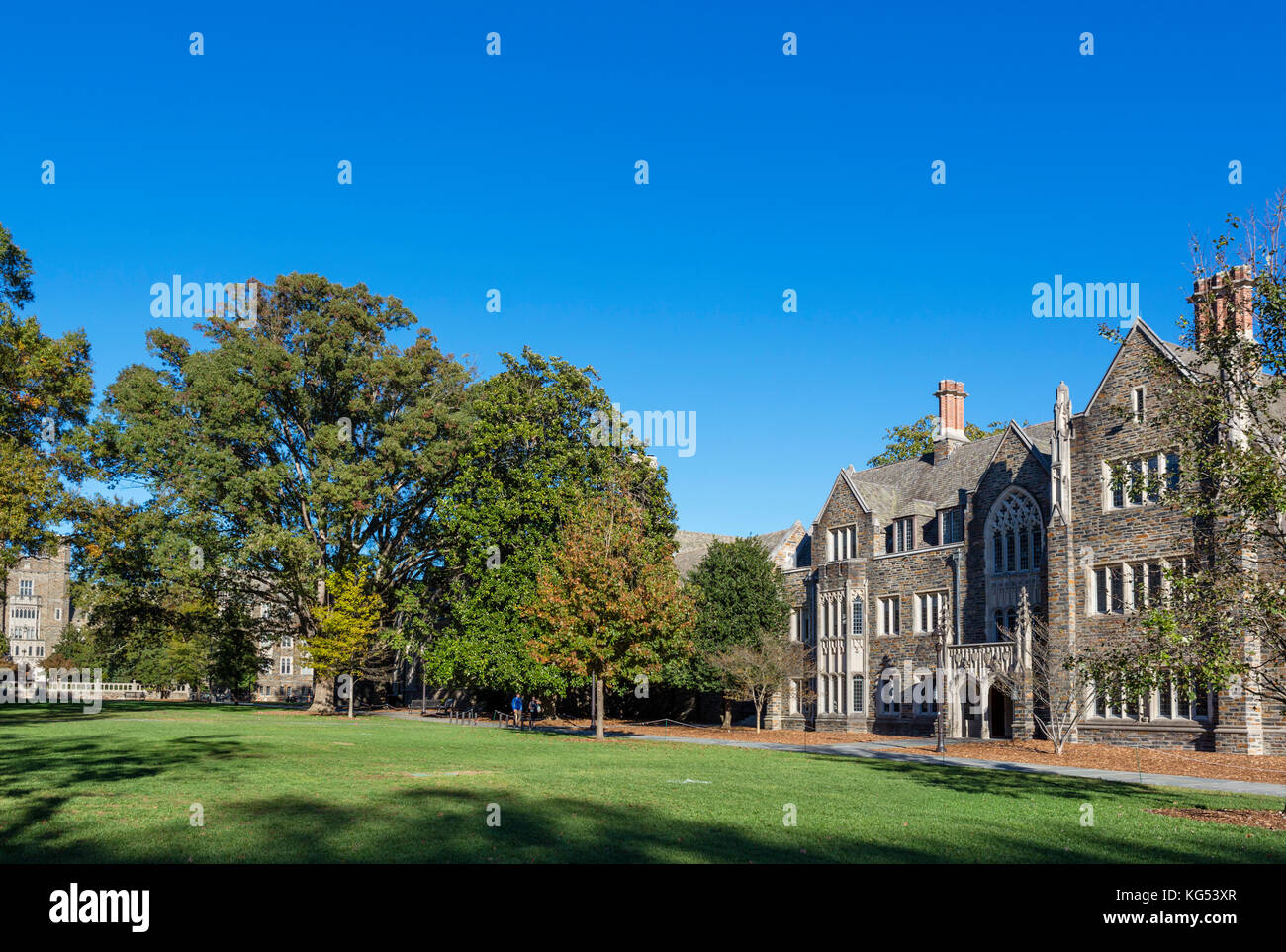 View from Chapel Drive of Trinity College of Arts and Sciences, Duke University, Durham, North Carolina, USA. - Stock Image