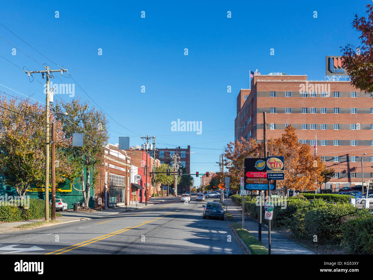 West Main Street in downtown Durham, North Carolina, USA - Stock Image