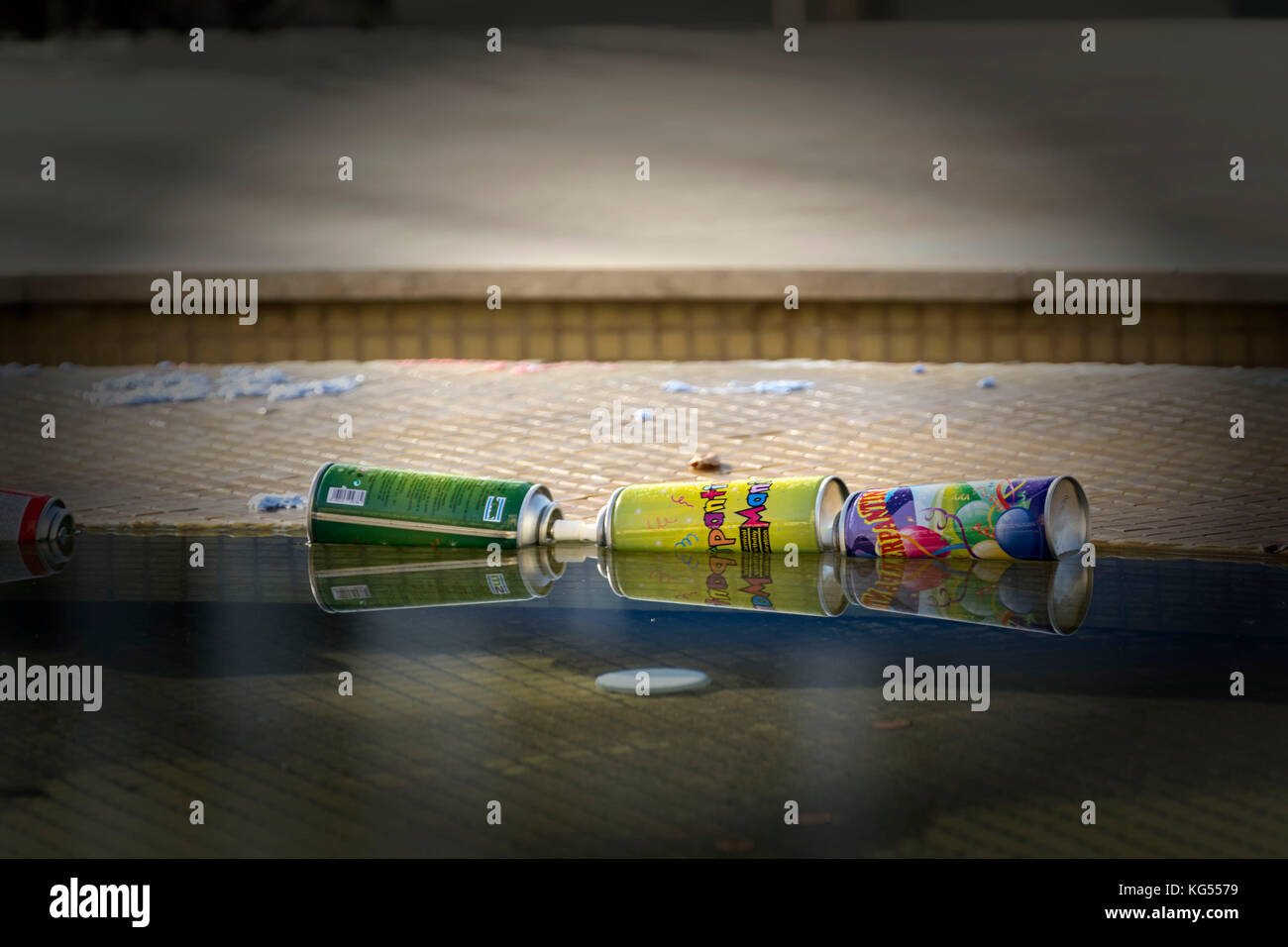 Three crazy string cans in the fountain, Paphos - Stock Image