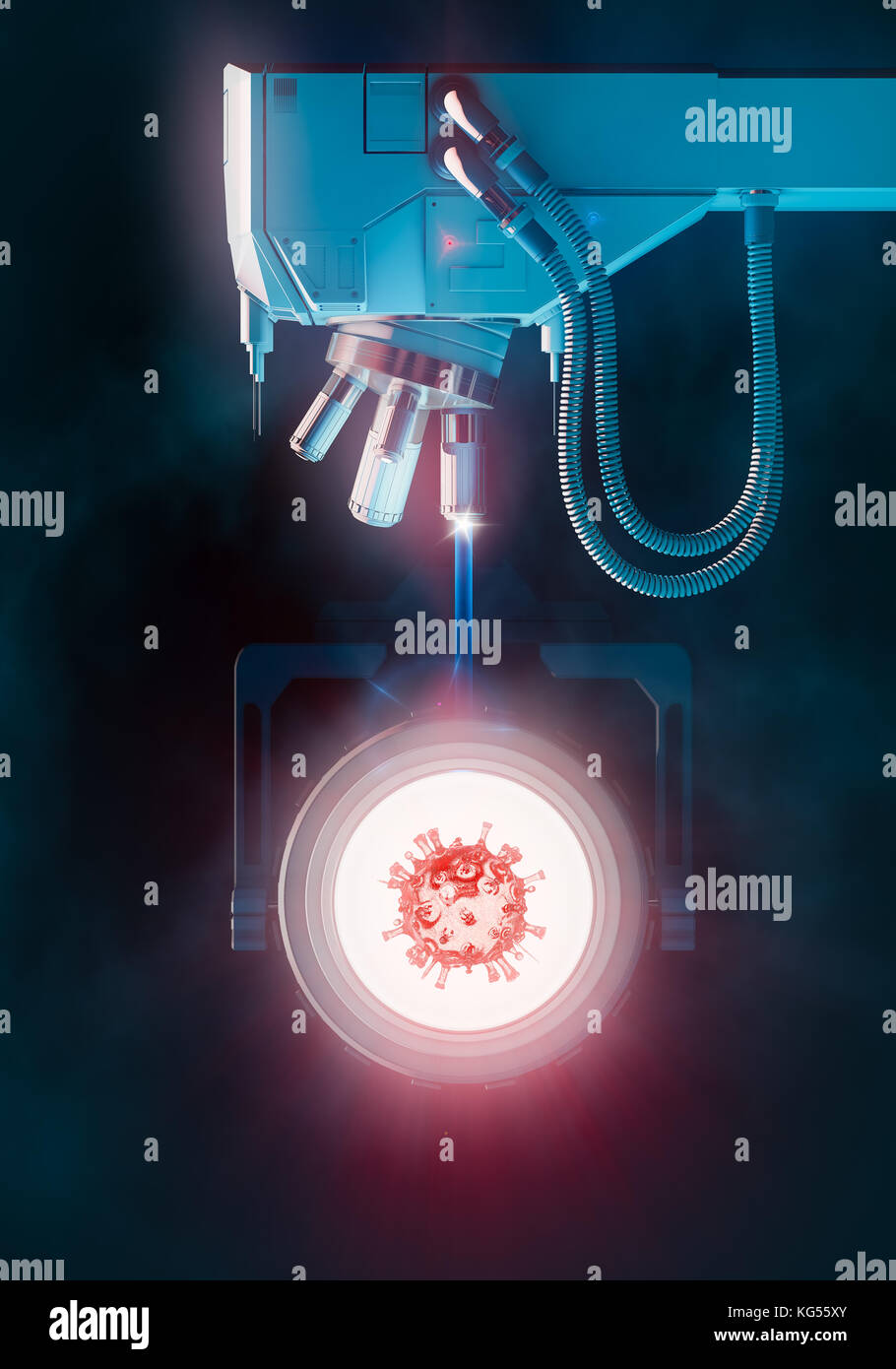 Optical electron scanning microscope virus research concept Stock Photo