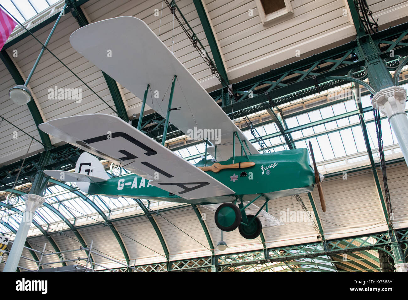 full scale replica model Gipsy Moth plane flown by Amy Johnson made by prisoners at HMP Hull hanging inside Hull - Stock Image