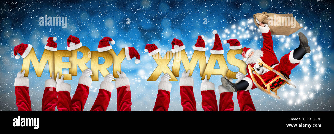 merry christmas xmas greeting crazy funny santa claus on