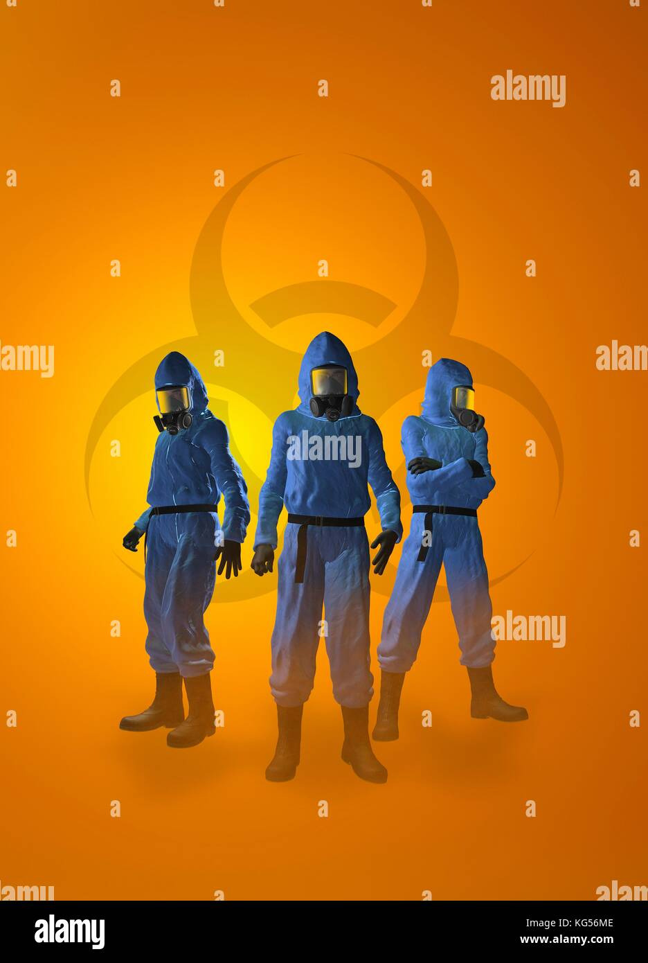 Three figures in radiation suits, illustration. - Stock Image