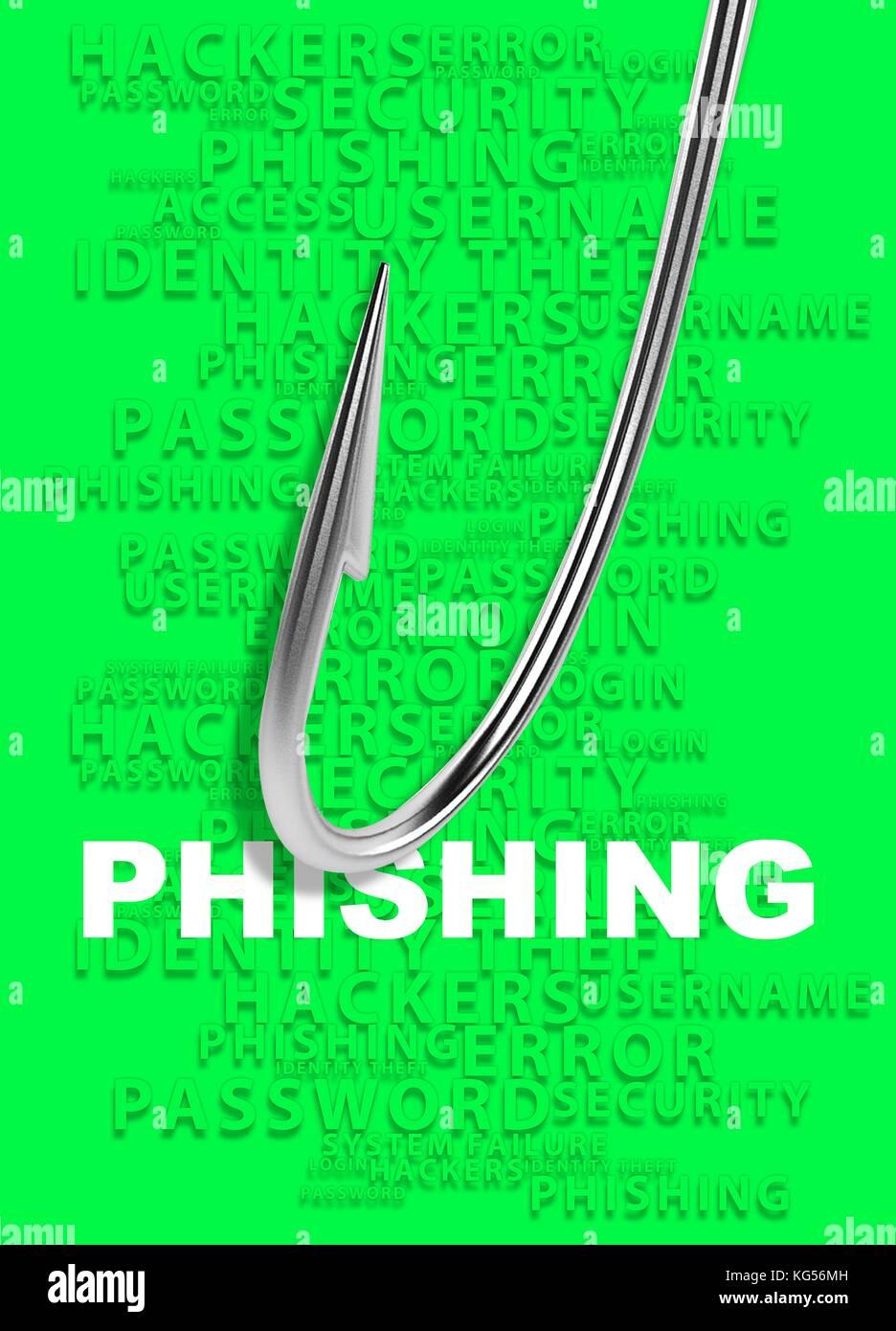 Phishing concept, illustration. - Stock Image