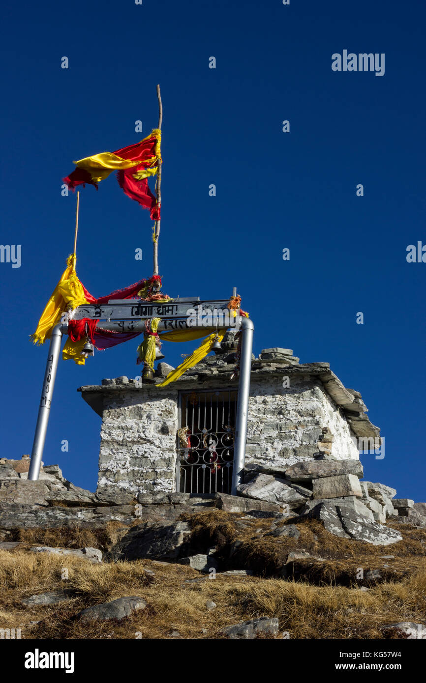 Chandrashila is summit of the Tungnath. It literally means 'Moon Rock'. It is located at a height of about - Stock Image