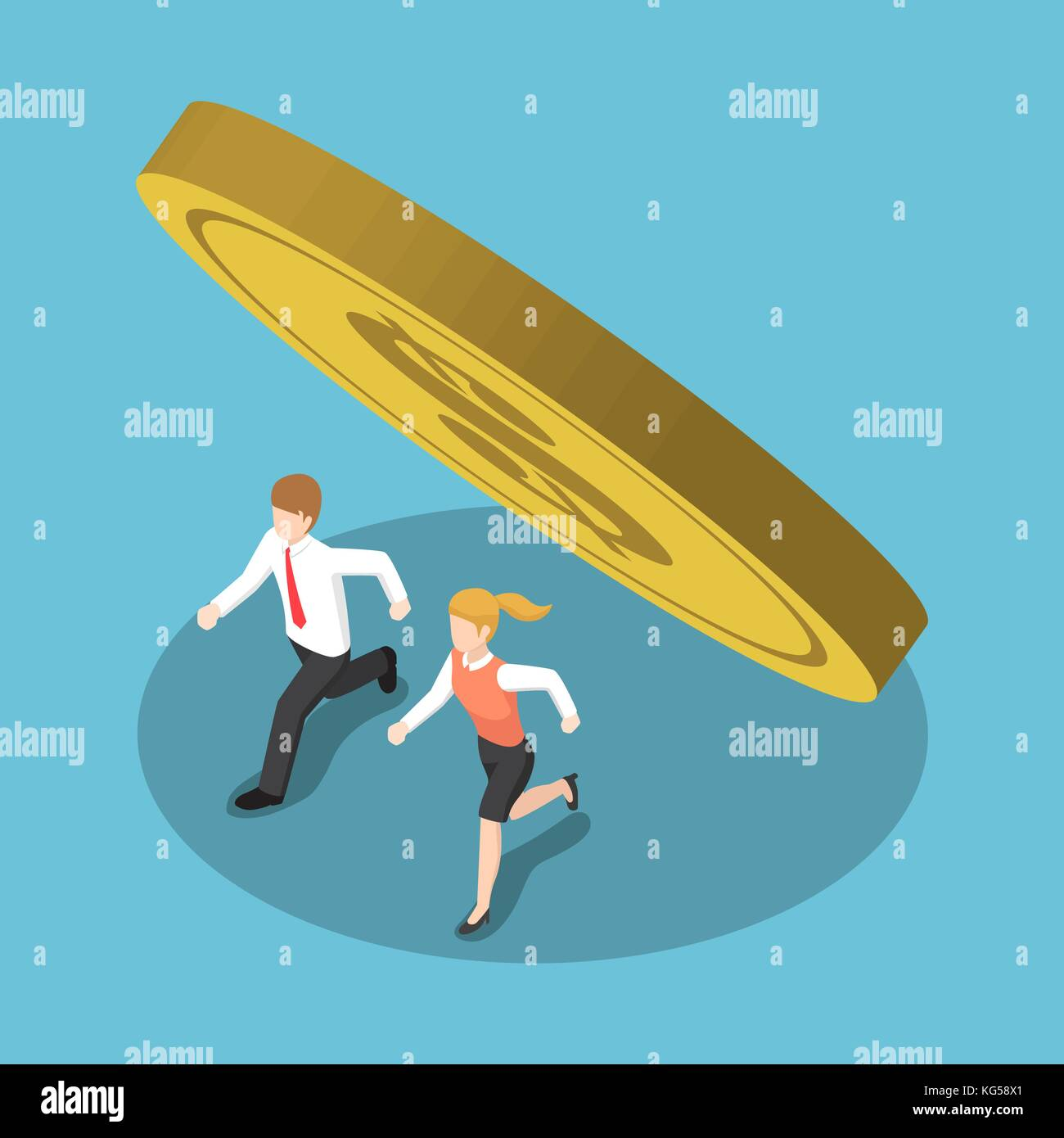 Flat 3d isometric business people running away from coin that falling. Financial crisis concept. Stock Vector