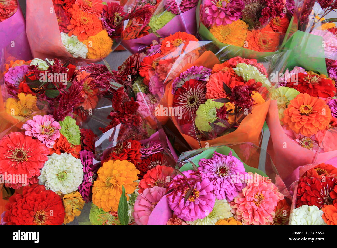 Several Bouquets Of Flowers Wrapped In Cellophane At The Local Stock