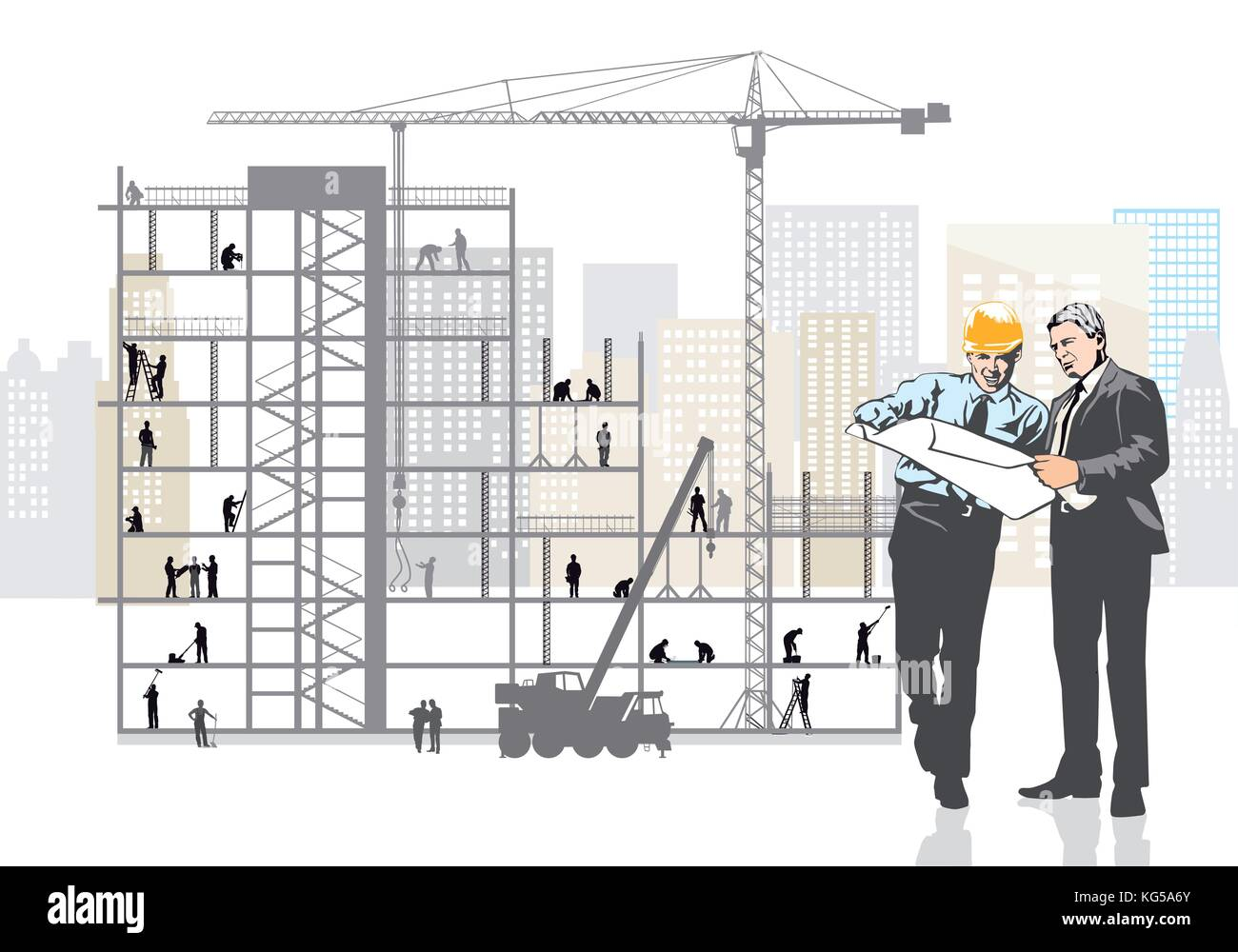 Architect and client are planning on the construction site - Stock Vector