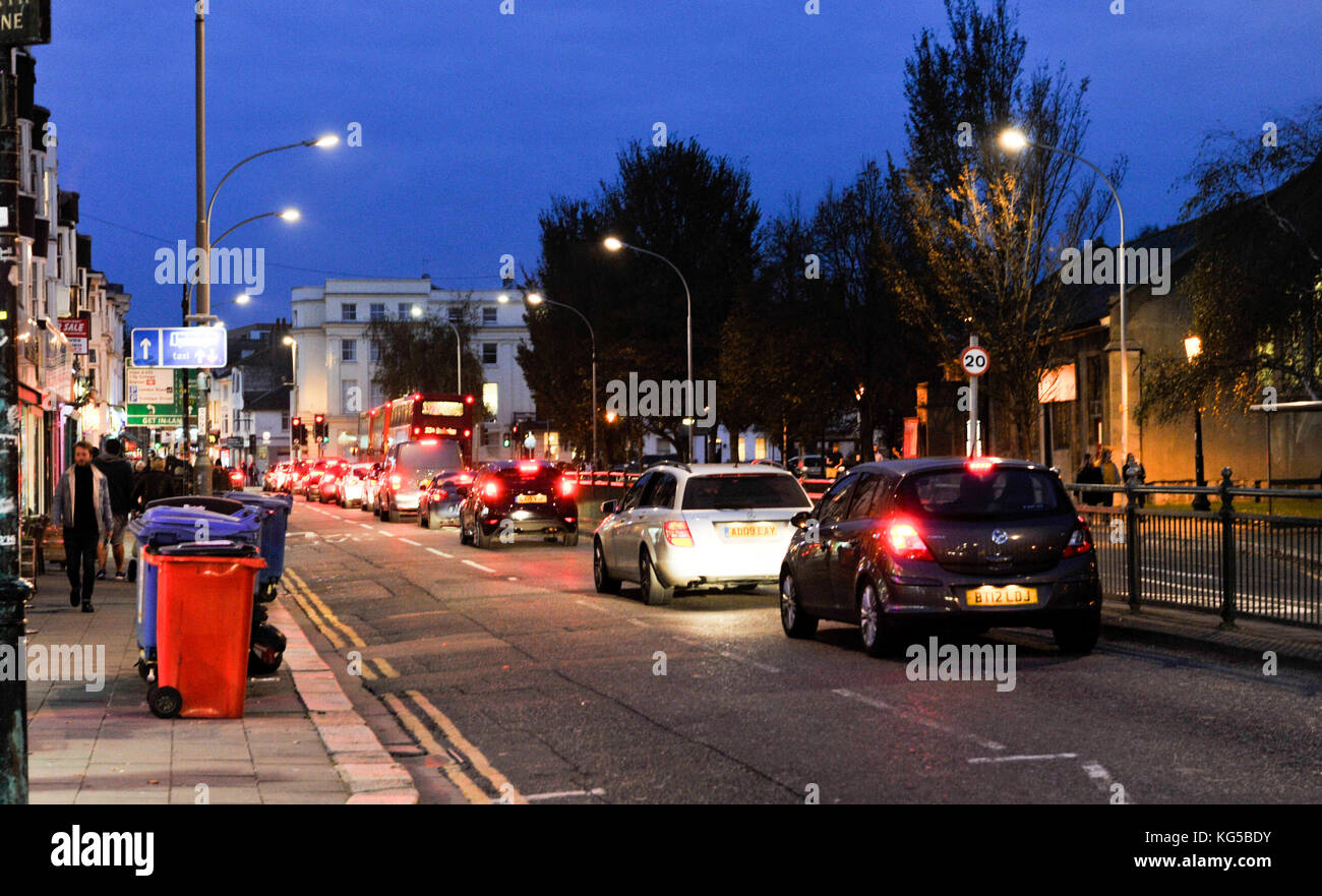 Rush hour traffic congestion in York Place Brighton UK - Stock Image