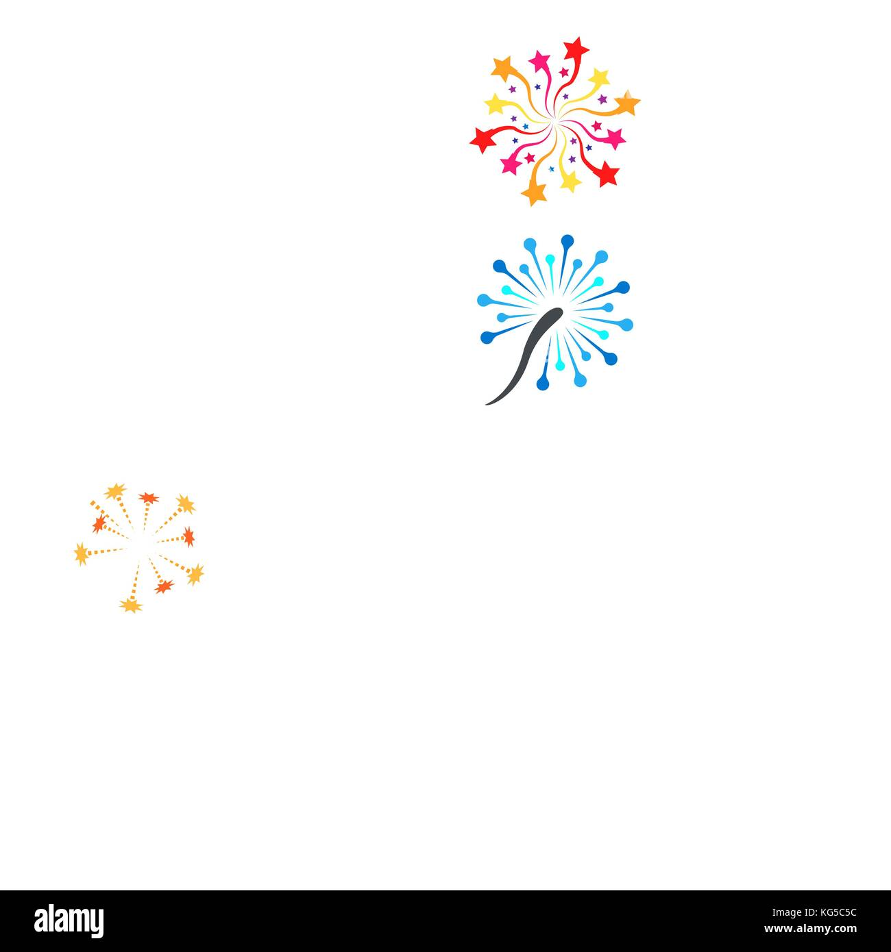 Pyrotechnic colored icons. Holiday sky fire crackers and cracker sparklers color firework rockets isolated on white - Stock Vector