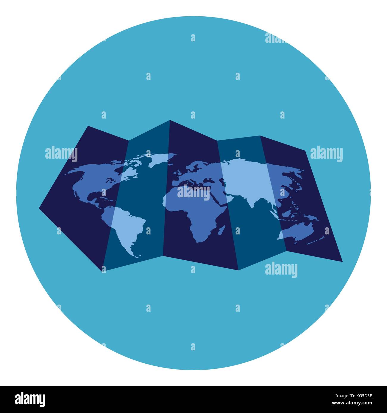World Map Icon On Round Blue Background Stock Vector Art