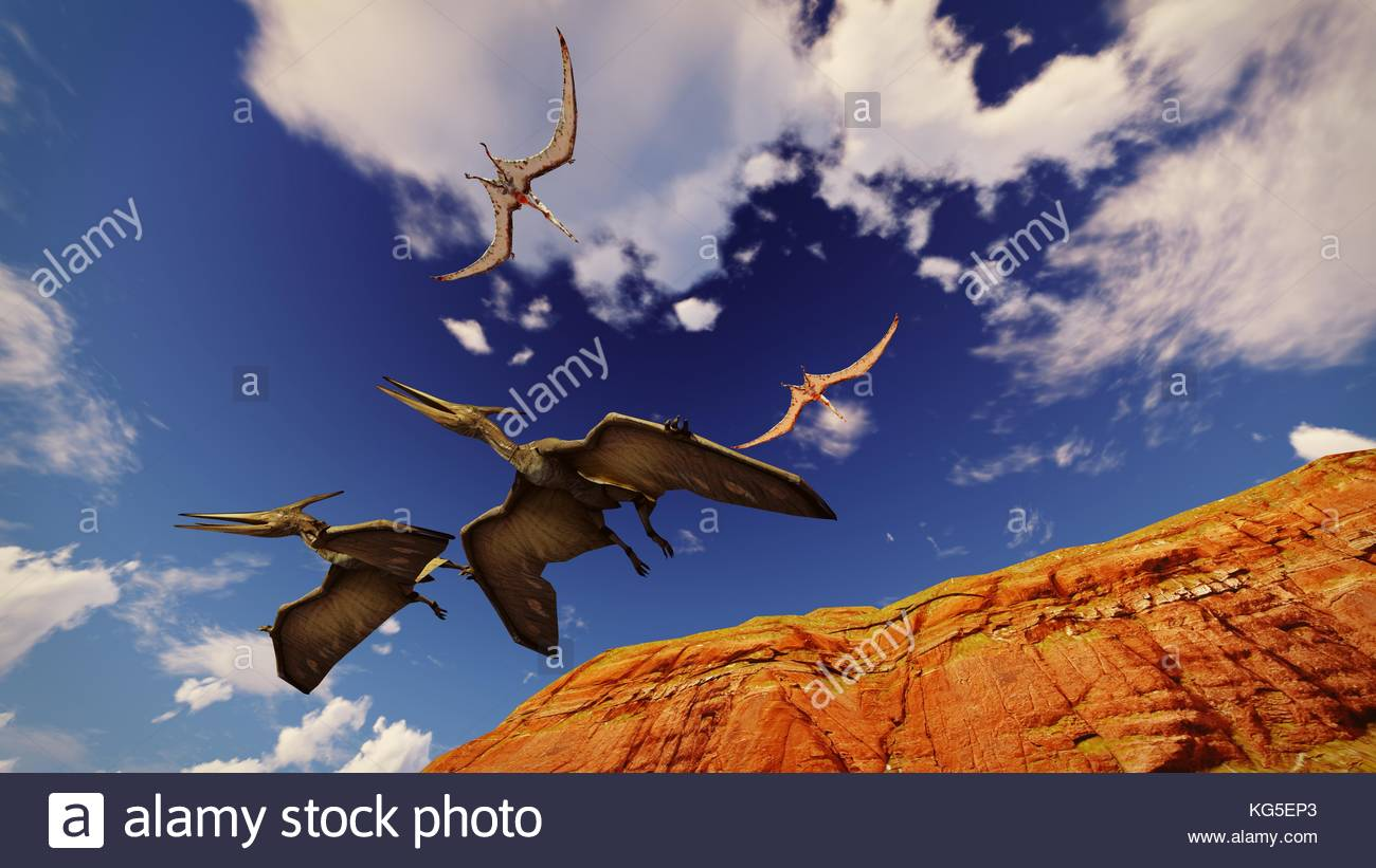 Flying pterodactyl against the beautiful cloudscape 3d illustration - Stock Image