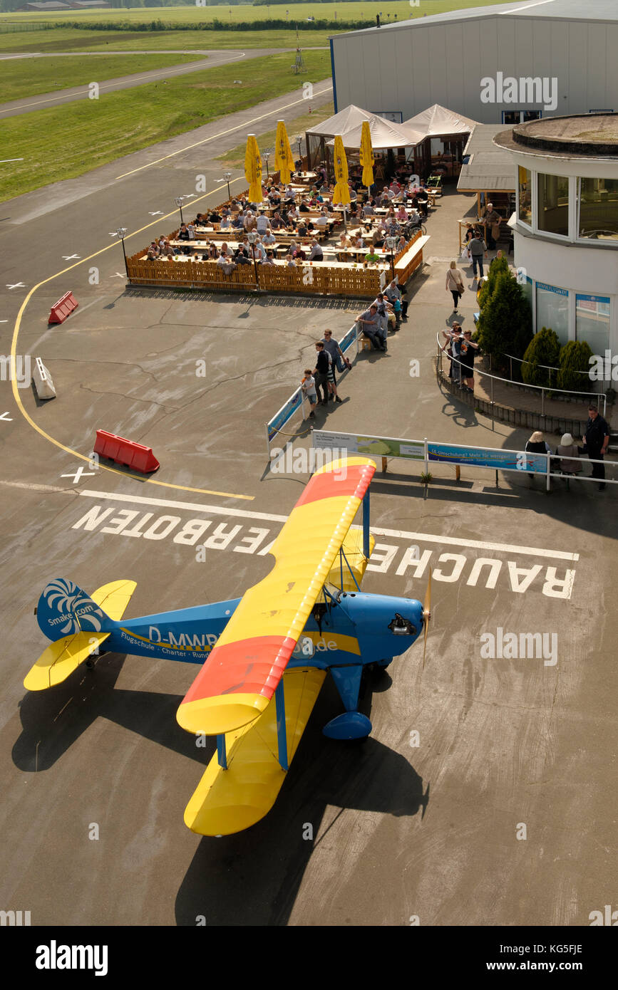 single-engined aircraft Kiebitz B 2 with gastronomy on the Flugplatz Loemühle (airport), Marl, North Rhine - Stock Image