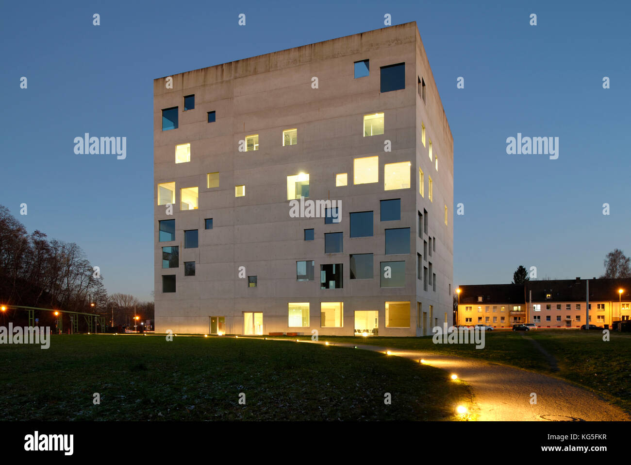 Folkwang Universität der Künste, SANAA-building in the evening light, Zollverein Coal Mine Industrial - Stock Image