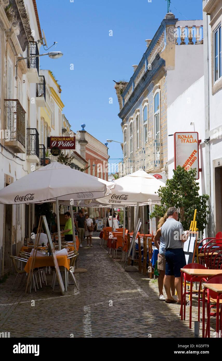 Tavira Old Town Lane Cafés Restaurants Tourists Stock Photo