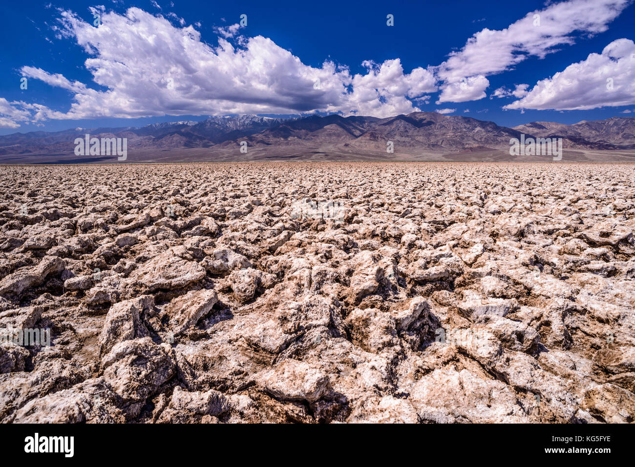 The USA, California, Death Valley National Park, Badwater Basin, Devils Golf Course, salt structures towards Panamint - Stock Image