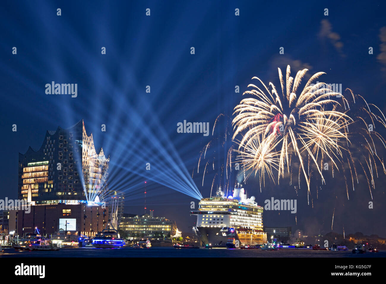 Baptism 'Mein Schiff 6' on the 1st of June, 2017 in front of the Elbphilharmonie with light show and fireworks - Stock Image