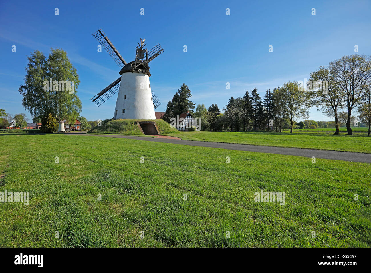 Embankment Dutchman windmill Wegholm with bakehouse and oven on Westfälischen Mühlenstraße (route), - Stock Image
