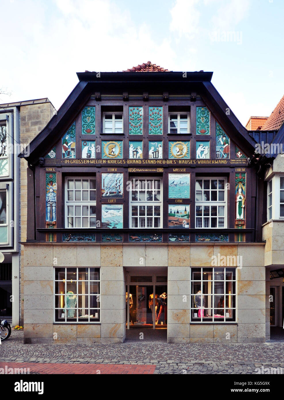 Osnabrück, Lower Saxony, richly ornamented half-timbered house in Krahnstrasse - Stock Image