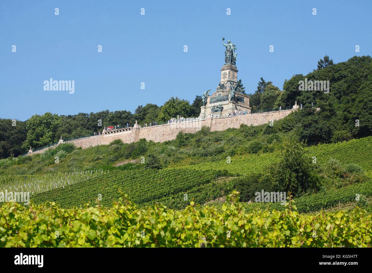 Rüdesheim am Rhein, the Niederwalddenkmal (monument) - Stock Image