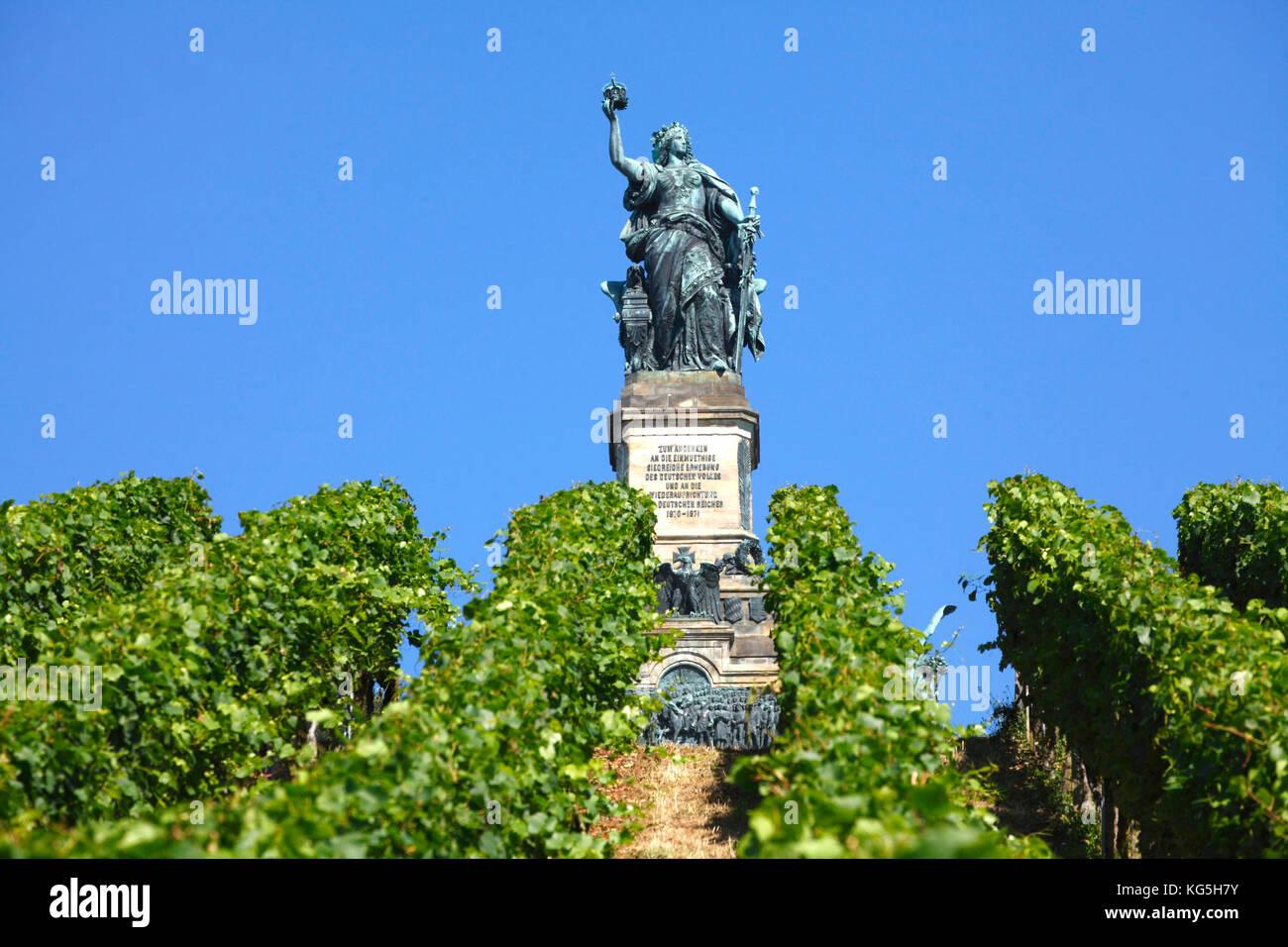 Rüdesheim am Rhein, the Niederwalddenkmal (monument) Stock Photo