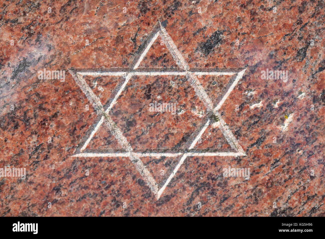 Star of David on the memorial stone to the destruction of the synagogue at the pogrom night in 1938, Bremerhaven, Stock Photo