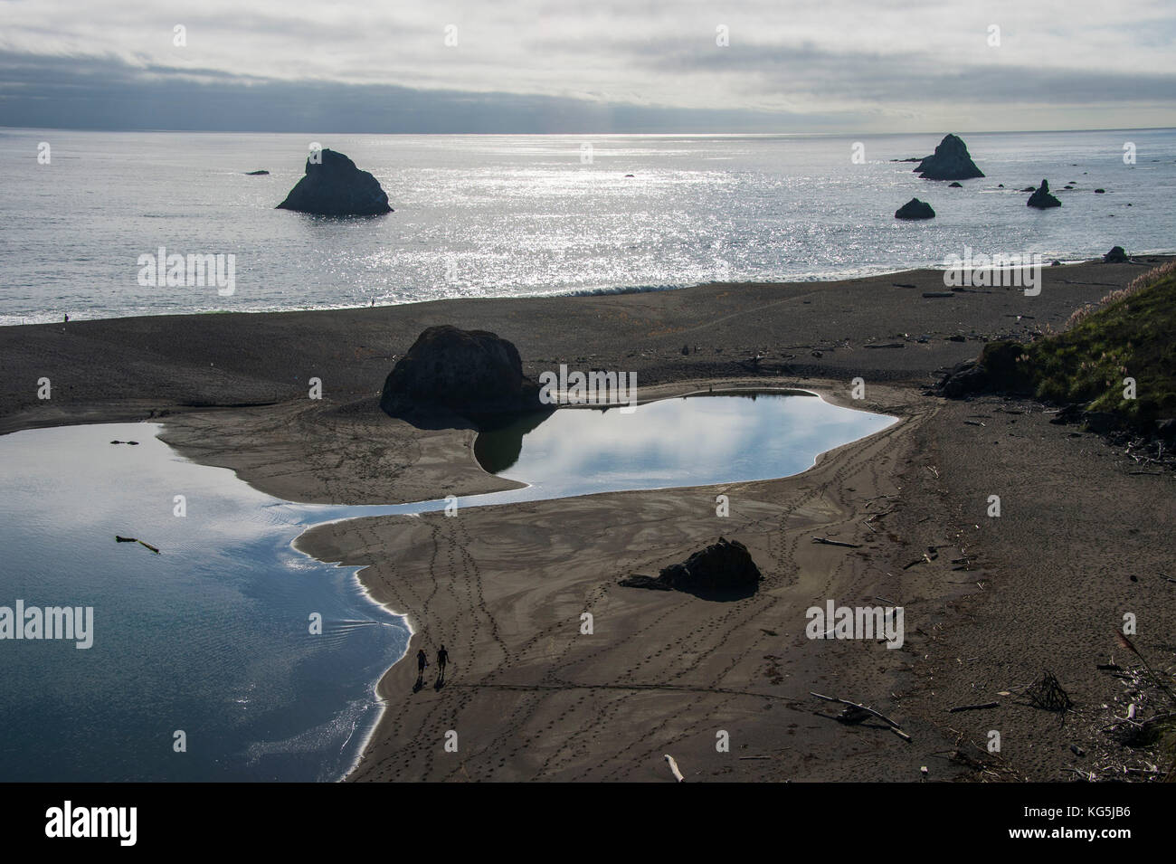 People walking on a sandbar where the Russian river flowing in the Pacific, Northern California, USA - Stock Image