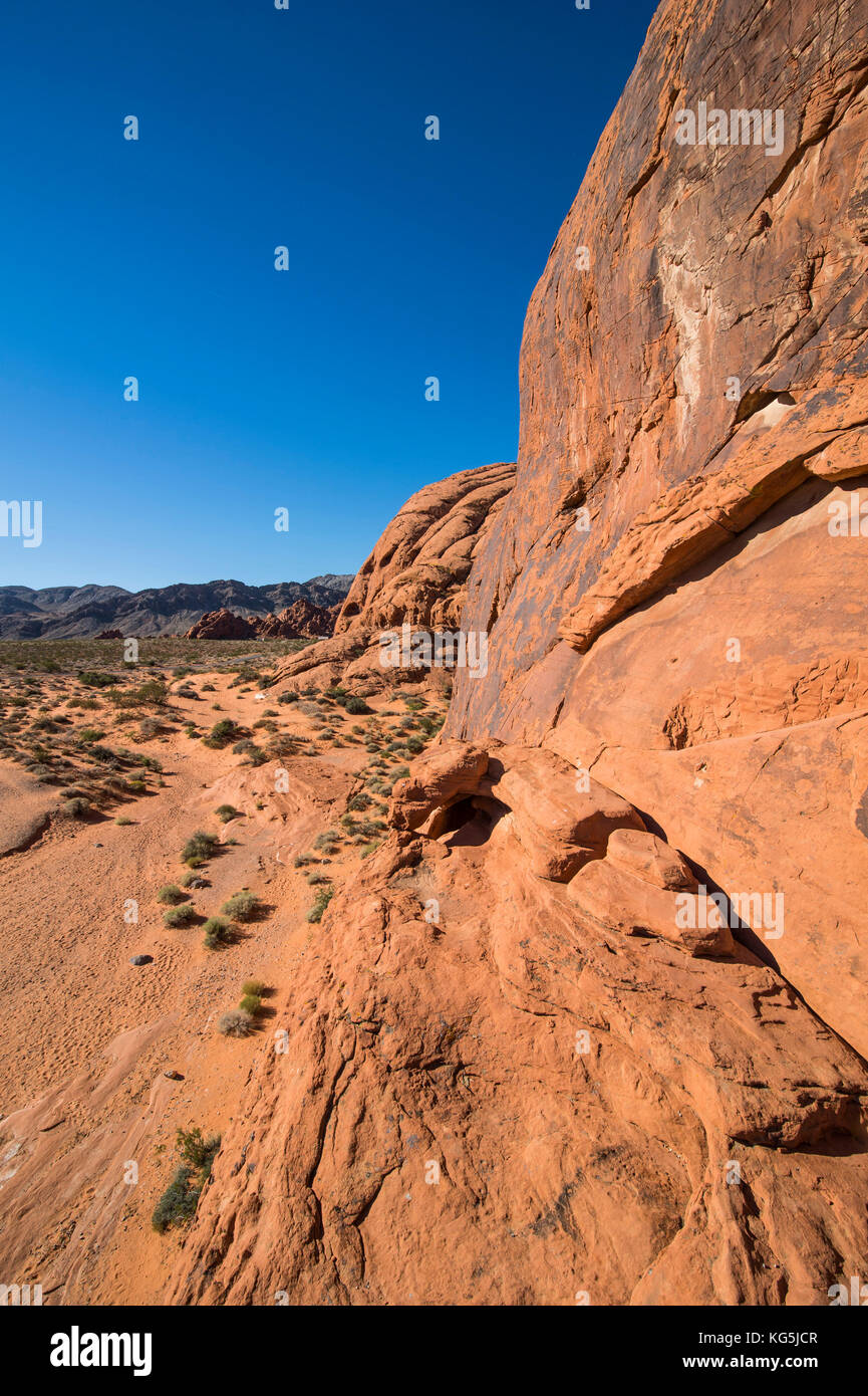 Redrock Sandstone formations at sunrise in the Valley of fire state park, Nevada, USA - Stock Image